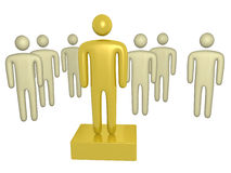 Golden Man On a Step. A golden man standing up on a step. Bussiness metaphor Stock Photo