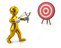 Golden man and target Royalty Free Stock Photo