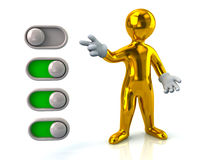 Golden man turning on toggle switches Stock Images