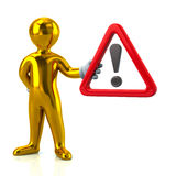 Golden man and  warning attention sign with exclamation mar Stock Photography