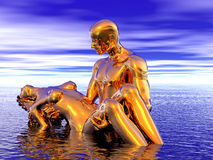 Golden man and woman Stock Photo