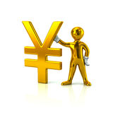 Golden man and Yen currency symbol. 3d illustration of golden man and Yen currency symbol Stock Photo