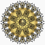 Golden mandala with damask floral pattern, arabesque, fretwork, round oriental ornament. Abstract traditional finely woven decor f. Or backgrounds. Luxury design Royalty Free Stock Image