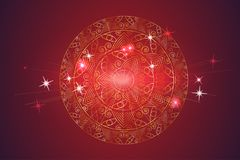 Golden Mandala, decorative round ornament on a red background. Stock Images
