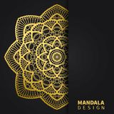 Golden mandala design. Ethnic round ornament. Hand drawn indian motif. Unique golden floral print. Elegant invitation vector illustration