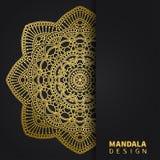 Golden mandala design. Ethnic round ornament. Hand drawn indian motif. Unique golden floral print. Elegant invitation royalty free illustration