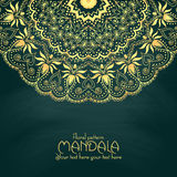 Golden mandala pattern design template. Vintage Royalty Free Stock Images