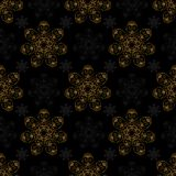 Golden mandala seamless pattern black background royalty free illustration