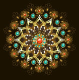 Golden mandala with turquoise Stock Photos