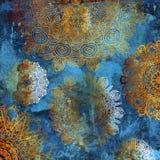Golden mandalas on blue wall royalty free illustration