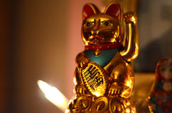 Golden Maneki Neko, the Lucky Cat. A Golden Maneki Neko, the Lucky Cat for fortune and money stock images