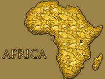 Golden map of Africa. Outline map of continent of African made from gold leaf Royalty Free Stock Image