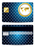 Golden map design credit card Stock Image