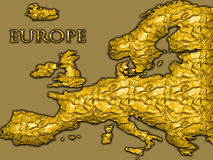 Golden map of Europe. Gold leaf textured map of continent of Europe Stock Images