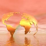 Golden map and rainbow vector illustration