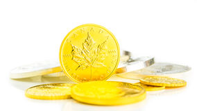 Golden maple leaf standing on edge. II, gold coins on white background, money theme stock photo