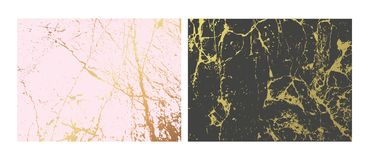 Golden marble imitation backgrounds set. Abstract cover with old rock, stone texture. Pink and Gold grunge texture. Template for business, web, invitation and royalty free illustration