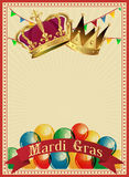 Golden Mardi Gras design element. Carnival background. Two carnival crowns. Stock Photography