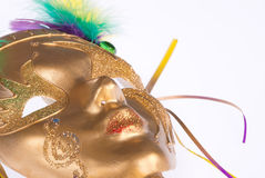 Golden Mardi Gras mask stock image