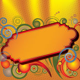 Golden Sign. Illustration of a fancy sign with bursts of color surrounding its frame. Perfect for writing your own title message Stock Photo