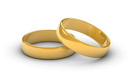 Golden Marriage Rings. Two golden marriage rings on a white background royalty free illustration