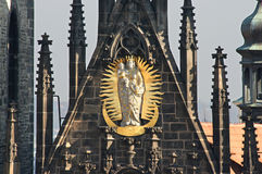 Golden Mary on Tyn Cathedral Royalty Free Stock Images