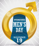 Golden Masculine Symbol and Tie Commemorating International Men`s Day, Vector Illustration Stock Photos