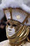 Golden mask. Historic carnival with a beautiful golden mask Royalty Free Stock Photos