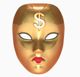 Golden mask. 3d rendered illustration of a golden mask with dollar sign Royalty Free Stock Photography