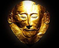 The golden mask of Agamemnon Stock Photos