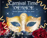 Golden mask carnival card Vector. Masquerade Party. Mardi Gras card invitation. Carnival glittering design. Night Party. Poster. Dance Flyer. Musical Banner stock illustration