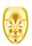 Golden mask. A golden face mask isolated on white background Royalty Free Stock Image