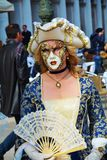 Golden mask with fan, Venice, Italy, Europe Stock Images