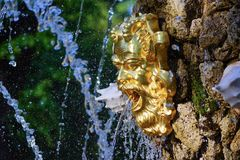 Golden mask on the fountain in the Summer garden of St. Petersburg royalty free stock image