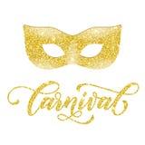 Golden mask of gold glitter Mardi Gras, Venetian masquerade. Golden mask of gold glitter. Carnival text for Mardi Gras or Venetian masquerade festival Stock Image
