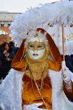 Golden mask with white feathers, Venice, Italy, Europe Royalty Free Stock Photography