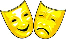 Golden masks from theatre Stock Photography