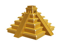 Golden mayan pyramid. Isolated on white background Stock Images