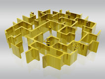 The golden maze of business. Businessman searching the way, being lost in administrative maze. 3D illustration, background, clipping path, communication concept stock illustration