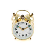 Golden mechanical alarm clock isolated Stock Photos