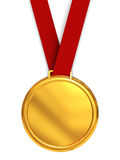 Golden medal. 3d illustration of golden medal over white background Royalty Free Stock Photography