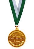 Golden medal. Single golden medal isolated on white background Royalty Free Stock Photo