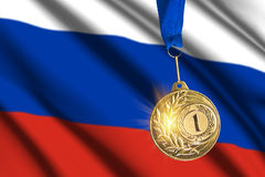Golden medal against Russian flag background. Closeup view Stock Photography