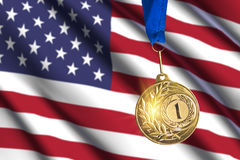 Golden medal against USA flag background Royalty Free Stock Images