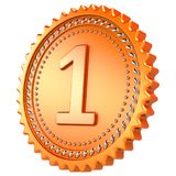 Golden medal award first place winner. Number one prize. Golden medal award first place winner. Number one champion success achievement prize icon sparkling. 3d Royalty Free Stock Photo