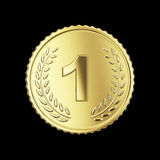 Golden medal. On black isolated with clipping path Royalty Free Stock Photos