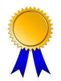 Golden Medal blue ribbon Royalty Free Stock Photography