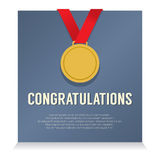 Golden Medal With Congratulations Card Stock Images