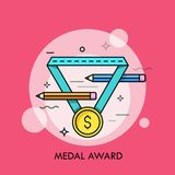 Golden medal with dollar symbol on it and pair of pencils. Concept of award for artists or graphic designers, creative. Competition. Colorful vector Stock Images