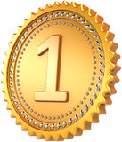 Golden medal first place award Stock Image